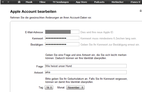 iTunes-Sicherheitsabfrage